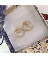 AUTH Christian Dior 2020 GOLD CD LOGO HOOP PEARL EARRINGS  - $399.99