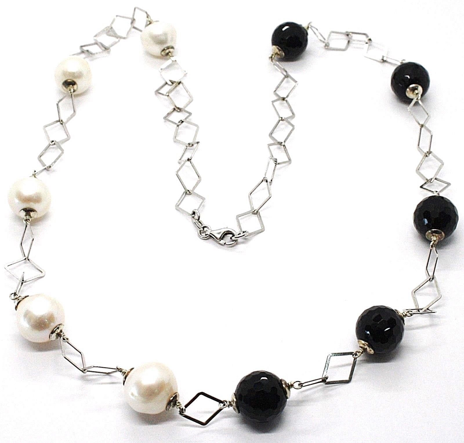 SILVER 925 NECKLACE, ONYX BLACK FACETED, PEARLS, 24 3/8in, CHAIN RHOMBUSES