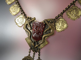 "Vintage Brass Dragon Griffin Early Plastic Basket Drippy Pendant 18"" Nec... - $173.25"