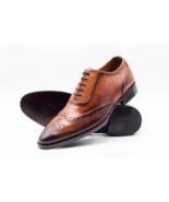 Hommes Fait main Cuir tan véritable Oxford Lacer Formel Chaussure - $214.99