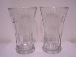 Coca Cola Glass Glasses Lot of 2 Clear Heavy Weight Dinnerware Vase Coke  - $19.78