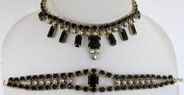 "Vintage Black AB Rhinestone Set 15"" Choker Necklace 6"" Bracelet Baguette... - $14.99"