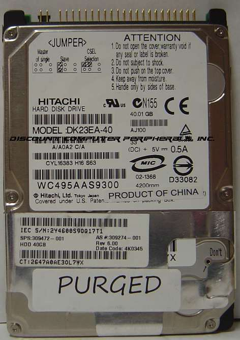 40GB 2.5in 9.5MM IDE 44PIN Hard Drive Hitachi DK23EA-40 Our Drives Work