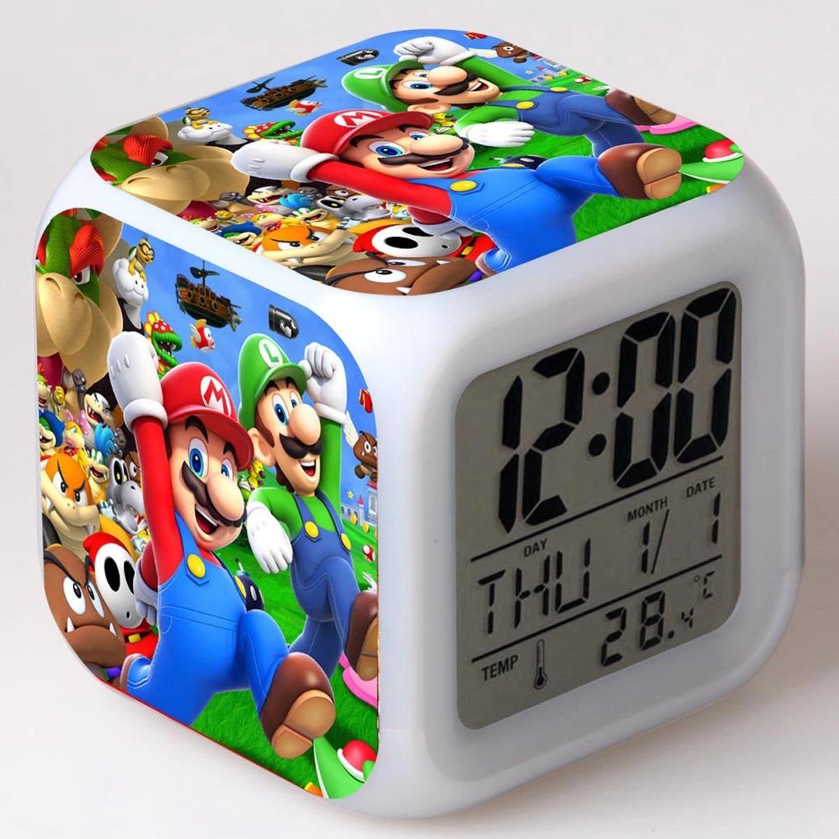 Kids Alarm Clock LED Light Color Change Super Mario Bros Digital clock - Alarm Clocks & Clock Radios