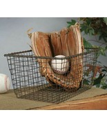 Metal WIRE STORAGE BASKET Primitive Rustic Gathering Holder Square Country - £34.25 GBP