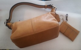 Coach Purse 9564 Brown Leather Coach Baguette With Matching Key Chain Wa... - $71.27