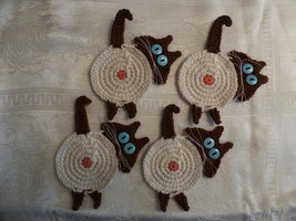 "Crochet Peeking Cat Butt Coasters Siamese Cats w ""Cattitude"" Set of 4 - $19.35"