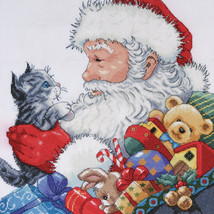 """Design Works Counted Cross Stitch Kit 13""""X13""""-Santa & Kitten (14 Count) - $28.03"""