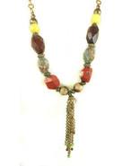 "Chicos Andorra Stone & Plastic Beaded Necklace 18"" drop Retail $42 - $21.29"