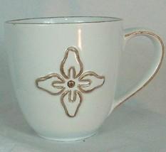 2008 Starbuck's 12 fl oz collectible mug tan color single floral design ... - $12.82