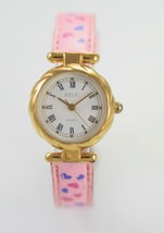 Relic Womens White Stainless Gold Steel Pink Leather Battery Quartz Watch - £20.39 GBP