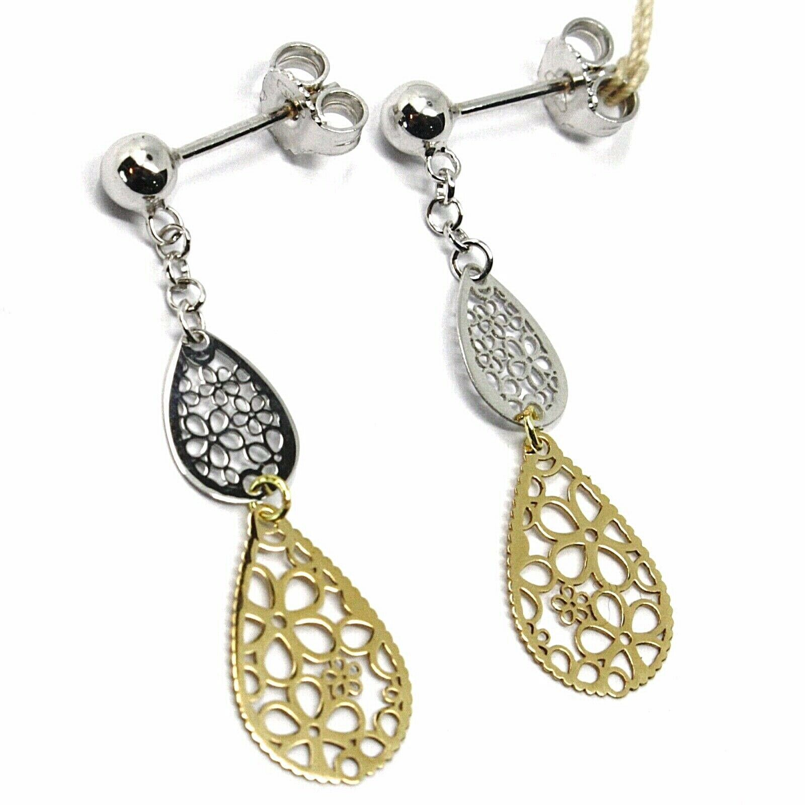 18K YELLOW WHITE GOLD PENDANT EARRINGS, DOUBLE FLAT DROPS WITH FLOWERS, 3.5cm