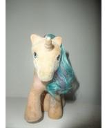 1980s BUTTONS So Soft My Little Pony Unicorn G1 Vintage Flocked Figure - $9.85