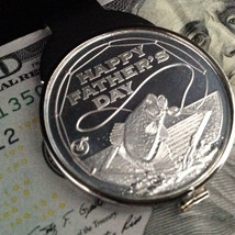 Happy Father's Day Silver-Dollar Size 1 Troy Oz Fishing Coin Money Clip - $98.51