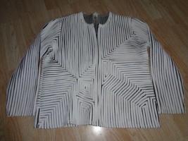Women's Laura Ashley M Jacket Blazer White Black Overlay Striped - $12.19