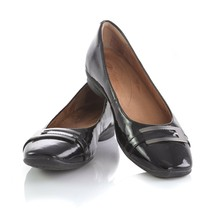 Clarks Artisan Black Patent Leather Flats Slip On Loafers Shoes Buckle W... - $39.42