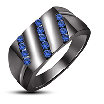 925 Sterling Silver Black Platinum Plated Round Blue Sapphire Special Men's Ring - $89.20