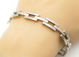 MEXICO 925 Silver - Vintage Smooth Square Bar Linked Chain Bracelet - B6293 - $82.46