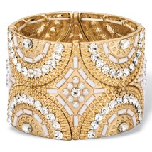 PalmBeach Jewelry Crystal & Simulated Pearl Gold Tone Art Deco Stretch Bracelet - $15.99