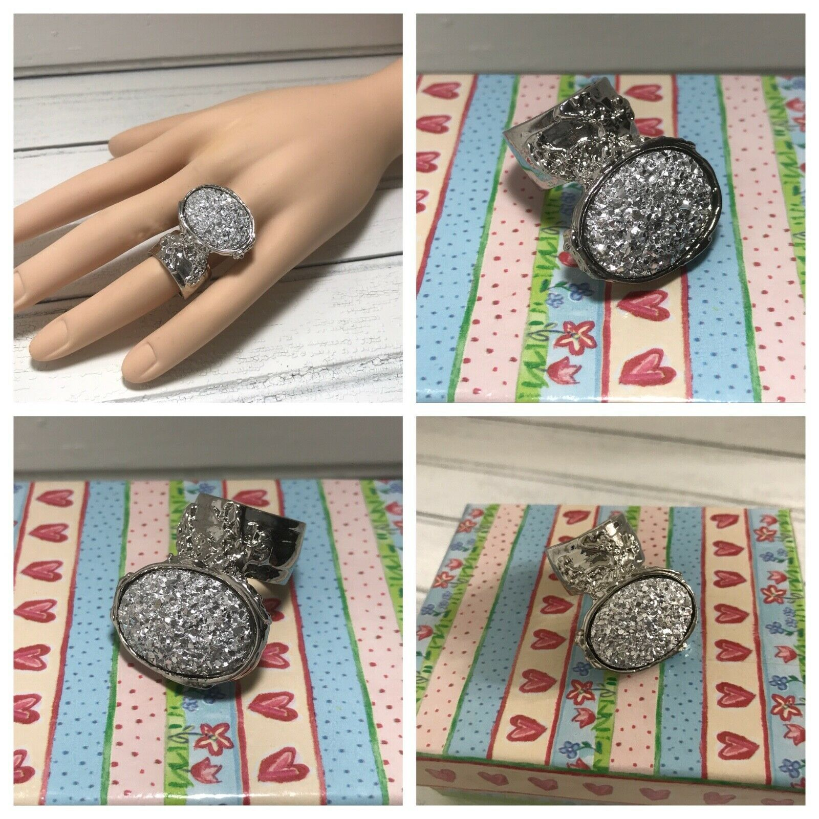 Druzy Style Arty Statement Ring SZ 6 Knuckle Art Women Silver Iridescent Jewelry