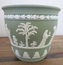 """Vintage Wedgwood Green Jasperware Arcadian Planter 4.25"""" - $38.00"""