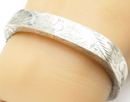 925 Sterling Silver - Vintage Floral Vine Etched Square Bangle Bracelet ... - $60.95