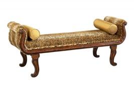 Benetti's Cleopatra Luxury Golden Cheetah Pattern Finish Bench Wood Trim - £758.24 GBP