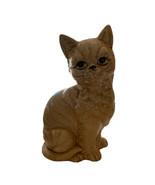"VINTAGE JAPAN CERAMIC SITTING CAT FIGURINE YELLOW SPOTTED BLACK EYES 7"" ... - $12.16"