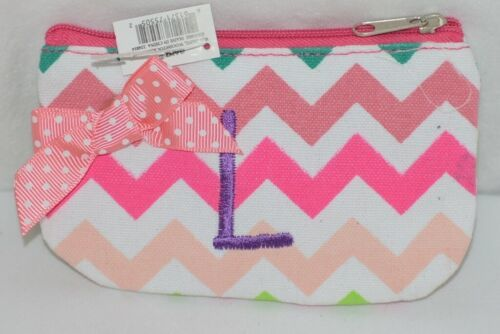 GANZ Brand Multi Color Chevron Monogram L Coin Purse With Light Pink Polka Dot B