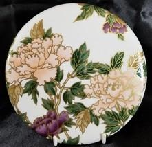 "FITZ & FLOYD White Cloisonne Peony 7""Trivet Hot Plate Japan Purple Pink ... - $84.11"