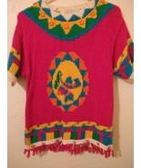 Vintage 1990 The Eagles Eye Mexican Theme Fiesta Sweater Sz M Hand Knit - $39.56