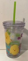 Easter CHICKS Acrylic Eco 10 Oz Cup W/ Swirly Straw New - Fun For Easter... - $7.94