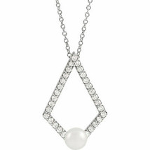 """Freshwater Cultured Pearl & Diamond Geometric 16-18"""" Necklace In Platinum - $1,138.73"""
