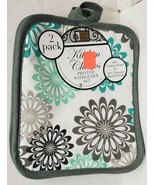 "Set of 2 JUMBO Pot Holders, 7"" x 8"", MULTICOLOR FLOWERS, with grey back, BH - $8.90"