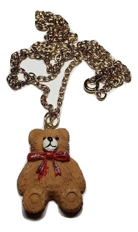 adorable teddy bear pendant and chain