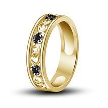 Round Shape Black CZ 14K Yellow Gold Plated Solid 925 Silver Wedding Band Ring  - $44.98