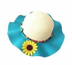 PANDA SUPERSTORE Beautiful Summer Straw Beach Sunflower Beige Blue Girl Hat
