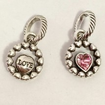 Brighton Ring of Love Charm, Pink, J9885A, Silver Finish, New - $13.29