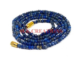 "Natural Lapis Lazuli 3-4mm Rondelle Faceted Beads 34"" Long Beaded Necklace - $26.18"