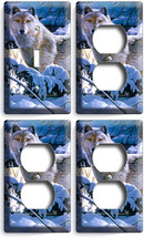 Wild Gray Wolf Winter Forest 1 Light Switch 3 Outlet Wall Plate Cover Room Decor - $35.09