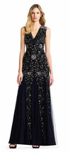 Adrianna Papell V Neck Floral Beaded Godet Gown Dress Black 10 Chronoarc - $300.96