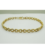 """Brand New Real 14k Yellow Gold New Textured X Link Bracelet, 8"""", 5.4 grams - $429.00"""