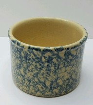 Blue Spongware Stoneware Crock Robinson Ransbottom Roseville Low Jar 1 p... - $10.88