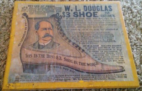 W.L. Douglas Shoe Co vintage wood Advert  from Brockton Mass