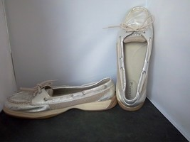 SPERRY - Women's Metallic Silver Leather Top Sider shoes - SIZE 11 - $18.95