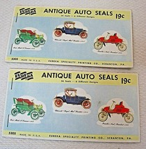 OLD Eureka Automobile Car Gummed Sticker Seal Books 72 Pieces 2 Books  T9 - $14.85