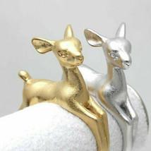 Einstellbare Deer Ring Tier Schmuck Fingerringe Silber Party Cute 3D Ani... - $6.12+
