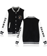 XXS-4XL Shawn Mendes Letters Printed Baseball Jacket Buckle Outwear Tops - $19.00+
