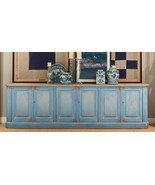 Vintage French Sky Blue Sideboard Cabinet Old Solid Pine Wood,119''L X 3... - $3,217.50