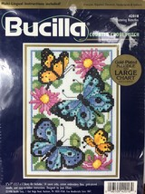 "Bucilla Counted Cross Stitch  5 x 7"" Butterflies 42018 by Joan Elliot 1998 - $7.37"